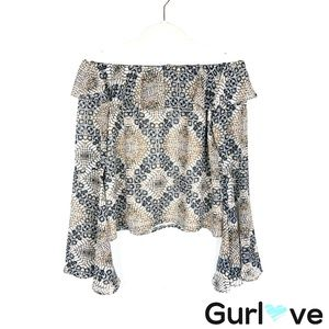 Karlie Snake Print Bell Sleeve Open Shoulder Top S